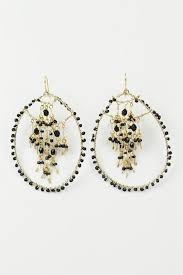 gold and black large hoop beaded fashion earrings