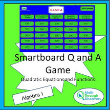 Q And A Game Smartboard Q And A Game Quadratic Equations And Functions Tpt