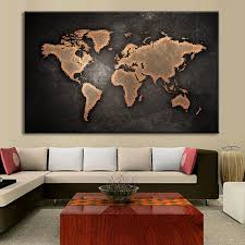 paintings for office walls. 1 PCS/Set Huge Black World Map Paintings Print On Canvas HD Abstract Painting Office Wall Art Home Decor-in \u0026 Calligraphy From For Walls A