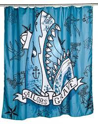 contemporary bathrroom with sailors grave shark shower curtain with shark bathroom accessories