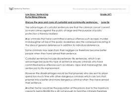 pros and cons of custodial and community sentences a level law document image preview
