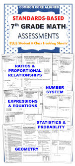 Common Core State Standards Vertical Alignment Charts Math 7th Grade Math Standards Based Assessments Bundle Common