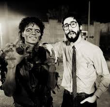 Michael Jackson and John Landis (director) making THRILLER, 1983. :  OldSchoolCool