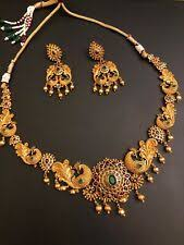 ethnic indian fashion jewelry 1 gram gold necklace earrings set green stone