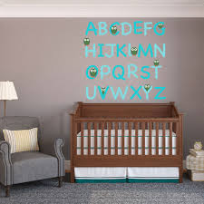 turquoise owl alphabet wall decal set