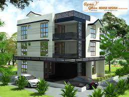 Modern triplex (3 floor) house design. Area: 240sq mts (12m X