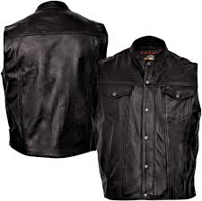 milwaukee motorcycle clothing co men s jinx black leather vest