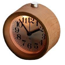com glomarts round wooden silent desk alarm clock with nightlight home kitchen