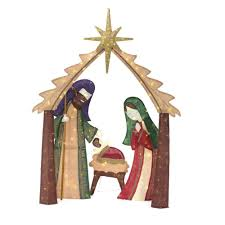 Lighted Nativity Set For Yard Home Accents Holiday 76 In Christmas Led Lighted Burlap