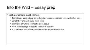into the wild by jon krakauer ppt into the wild essay prep each paragraph must contain techniques used visual or