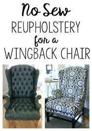 no sew reupholstered wingback chair how i turned a free but ugly chair into groopdealz