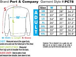 Xb Size Chart Garment Pc78 Port Company Classic Crewneck