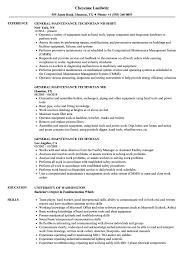 General Maintenance Technician Resume Samples Velvet Jobs