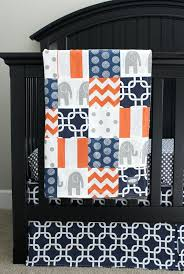 orange crib skirt elephant nursery bedding set navy blue gray baby boy modern sheets canada