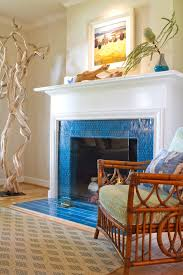 los angeles glass tile fireplace surround with farmhouse dining room tables living beach style and wood