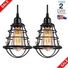 Vintage Lights For Sale Industrial Pendant Light 2 Pack Hanging Cage Pendant Lights E26 E27 Base Vintage