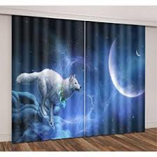 LB Wolf Decor Curtains for Bedroom Living Room,White Wolf and Blue ...
