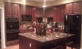 Delighful Painting Cherry Kitchen Cabinets White Backsplash Ideas With On Design