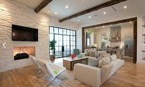 white brick wall living room design