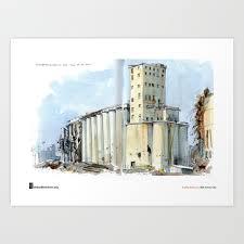 "Cathy Johnson, ""Grain Elevators"" Art Print by urbansketchers | Society6"