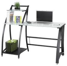 xpressions computer workstation w tempered glass laptop desk contemporary desks and hutches by ladder