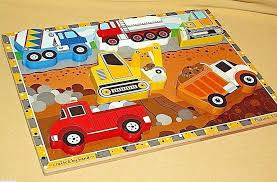 truck puzzle chunky wood wooden construction fresh start melissa and doug jigsaw puzzles in a box