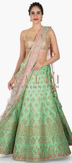 Kalki Lehenga Designs Pista Green Lehenga In Raw Silk Embellished In Resham And