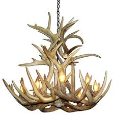whitetail deer cascade antler chandelier light extra large no shades