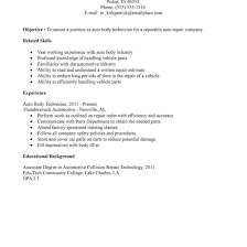 Auto Body Technician Resume Sample Proyectoportal Com