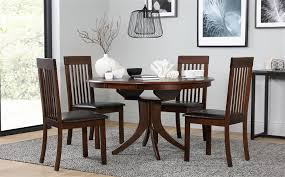 gallery hudson round extending dark wood dining table