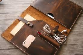 custom leather business portfolio with zipper