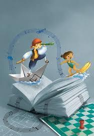 reading open book cartoon children surfing boating on open book of reading open book cartoon man