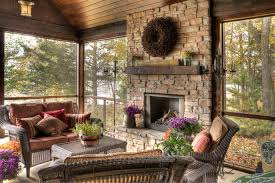 rustic fireplace mantel shelves porch rustic with screen porch stone fireplace surround wreath