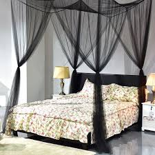 4 Corners Post Bed Canopy Mosquito Net for Full Queen King Size, Square Bed Netting Curtain Black, Insect Protection Repellent Shield for Home & ...