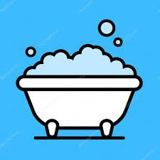 cute cartoon bathtub with a bubble bath