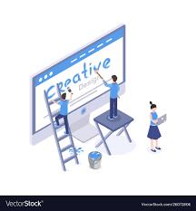 A Web Designer Creates An Animation Web Design Studio Isometric