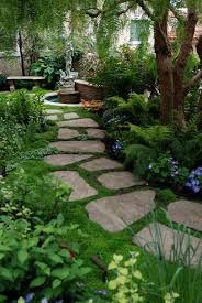 garden pathway. Gorgeous Rock Pathway Ideas For Your Yard And Landscape. Stepping Stone With Moss Groundcover Garden I
