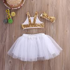 Amazon.com: Toddler Baby Girls Gold Sparkle Sequins Design Tops Tutu Skirt  and 3 Pcs Outfit Set: Clothing