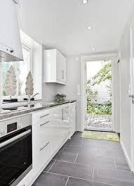 kitchen floor tiles small space: beautiful grey slate tile flooring with a fresh white kitchenlovely similar