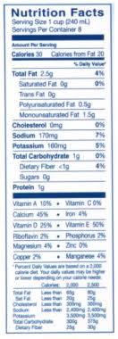 blue diamond almond breeze unsweetened vanilla almondmilk nutrition facts