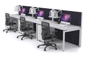 office workstation desks. 3 Person Workstation Run Desks With Acoustic Screens White Leg Horizon [1200L X 800W] Office A