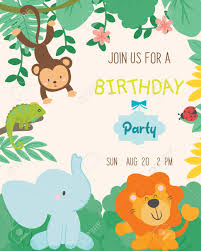 Jungle Theme Birthday Invitations Cute Animal Theme Birthday Party Invitation Card Vector