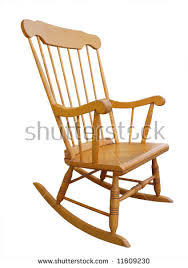 wooden rocking chair. old wooden rocking chair isolated with clipping path