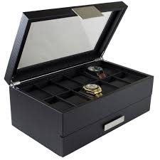 """glenor"""" 12 slot watch box valet drawer for men glenor co """"glenor"""" 12 slot watch box valet drawer for men"""