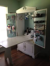 Fold Up Shelf Tv Armoire Turned Into A Sewing Cabinet With Fold Up Table