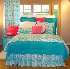 interior blue zebra bedding set connected by blue white zebra fabric curtain beautiful look