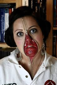 makeup for this is an actual zipper makeup and yes guys she used real zipper she attached it on her face using some adhesive and