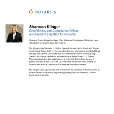 shannon klinger novartis description chief ethics and compliance officer