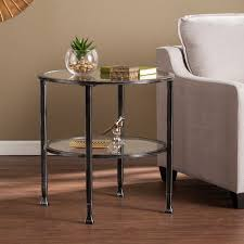 southern enterprises jaymes black metal and glass round end table