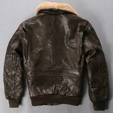 avirex fly air force flight jacket fur collar genuine leather jacket men black brown